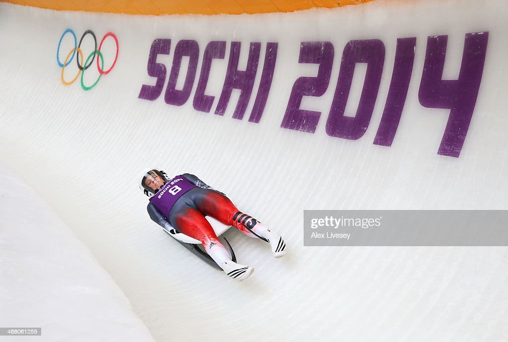 Martina Kocher of Switzerland makes a run during a Women's Luge Singles training session on Day 2 of the Sochi 2014 Winter Olympics at the Sanki Sliding Center on February 9, 2014 in Sochi, Russia.