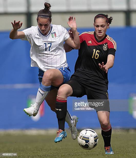 Martina Lorenzini of Italy U17 Women's battles for the ball with Anja Strofer of Germany U17 Women's during the UEFA Under17 Women's Elite Round...