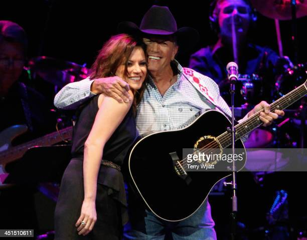 Martina McBride and George Strait perform during Playin' Possum The Final No Show Tribute To George Jones Show at Bridgestone Arena on November 22...