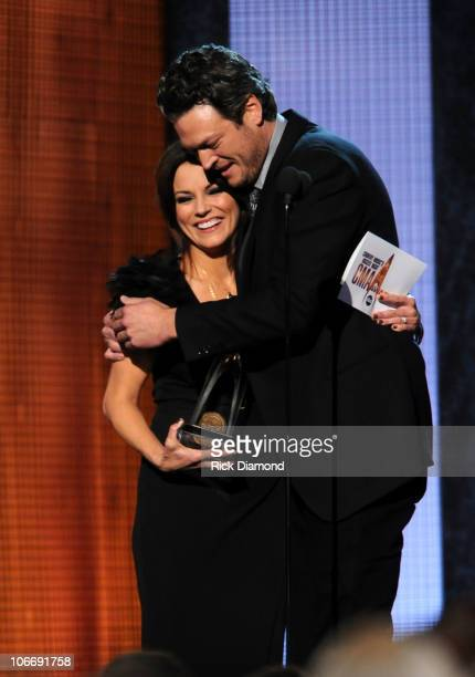 Martina McBride presents award for Male Vocalist of the Year to Blake Shelton at the 44th Annual CMA Awards at the Bridgestone Arena on November 10...