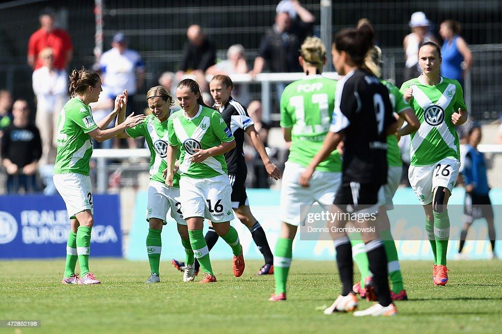 Martina Mueller of VfL Wolfsburg celebrates with team mates as she scores their first goal during the Allianz Frauen-Bundesliga match between 1. FFC Frankfurt and VfL Wolfsburg at Stadion am Brentanobad on May 10, 2015 in Frankfurt am Main, Germany.