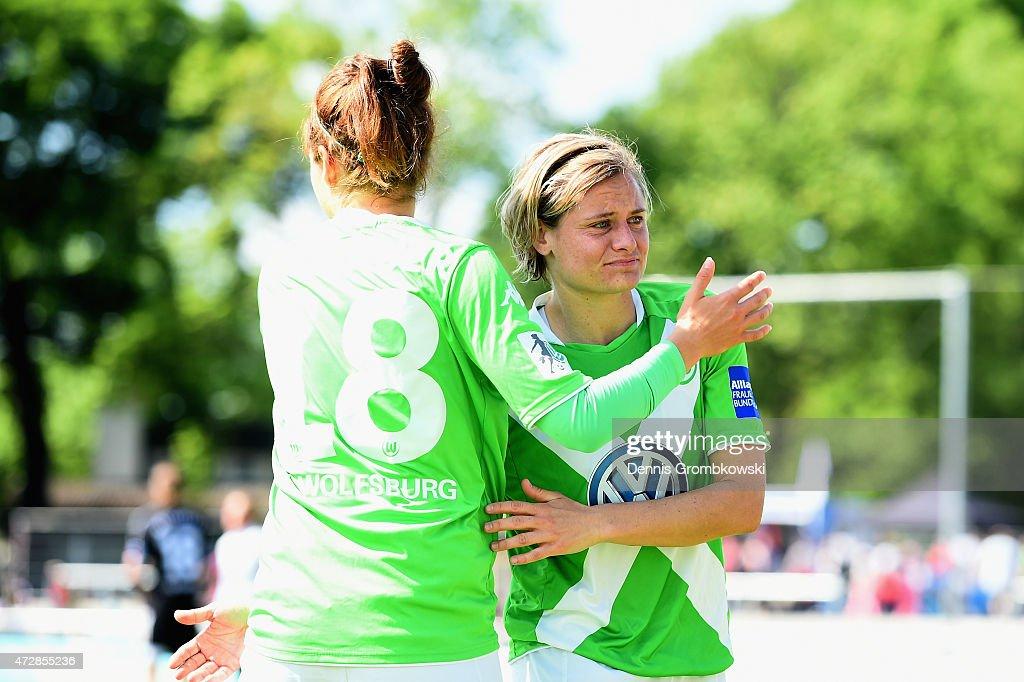 Martina Mueller of VfL Wolfsburg reacts after the Allianz Frauen-Bundesliga match between 1. FFC Frankfurt and VfL Wolfsburg at Stadion am Brentanobad on May 10, 2015 in Frankfurt am Main, Germany.