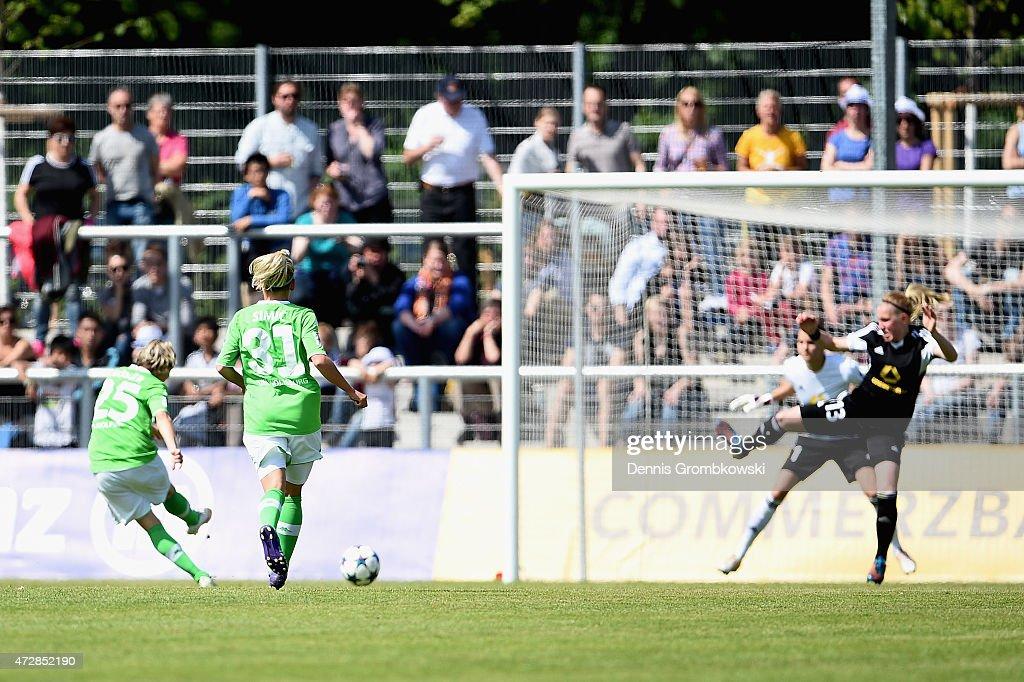 Martina Mueller of VfL Wolfsburg scores their first goal during the Allianz Frauen-Bundesliga match between 1. FFC Frankfurt and VfL Wolfsburg at Stadion am Brentanobad on May 10, 2015 in Frankfurt am Main, Germany.