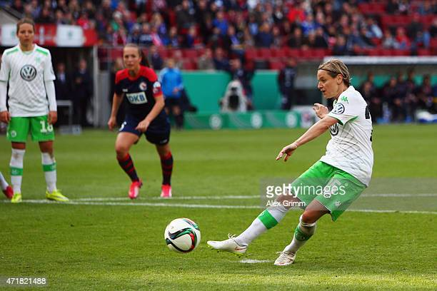Martina Mueller of Wolfsburg scores her team's second goal from the penalty spot during the Women's DFB Cup Final between Turbine Potsdam and VfL...