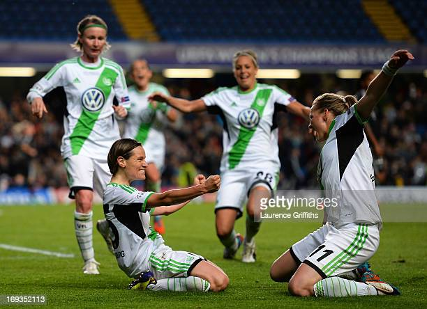 Martina Muller of VfL Wolfsburg celebrates scoring the opening goal from the penalty spot with Alexandra Popp of VfL Wolfsburg during the UEFA...