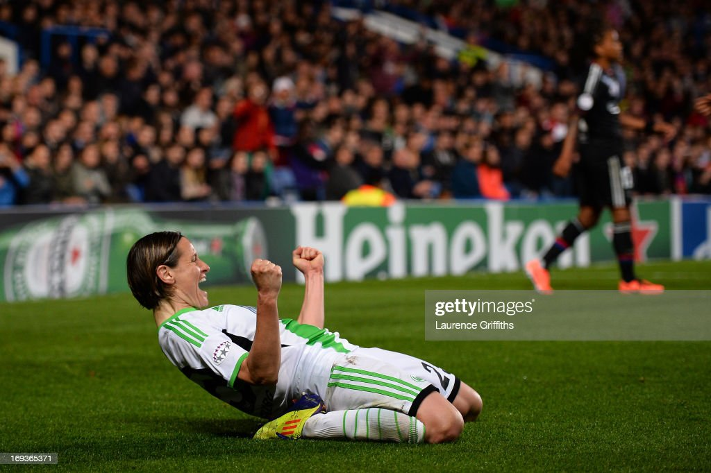 Martina Muller of VfL Wolfsburg celebrates scoring their first goal from the penalty spot during the UEFA Women's Champions League Final Match between VfL Wolfsburg and Olympique Lyonnais at Stamford Bridge on May 23, 2013 in London, England.