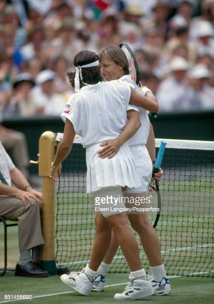 Martina Navratilova and Conchita Martinez of Spain embrace following Martinez's threeset victory during the women's singles final at the Wimbledon...