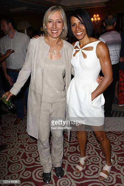 Martina Navratilova and Dame Kelly Holmes attend party hosted by Martina Navratilova at Westbury Hotel on June 26 2010 in London England