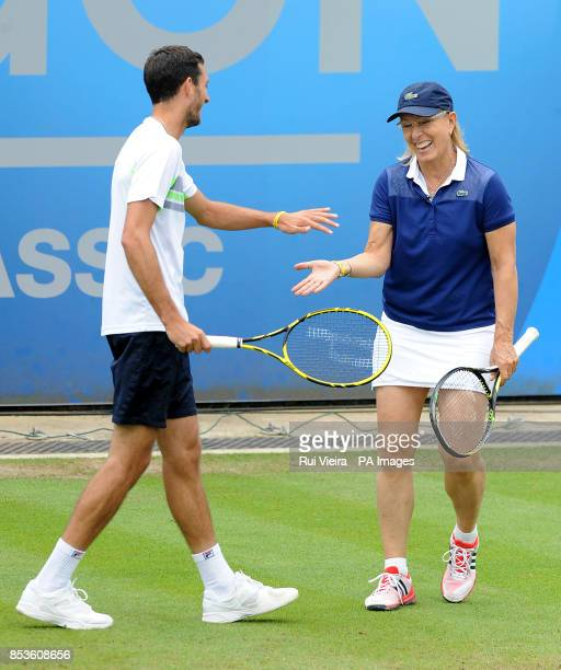 Martina Navratilova and James Ward during a Rally for Bally exhibition match during the AEGON Classic at Edgbaston Priory Club Birmingham