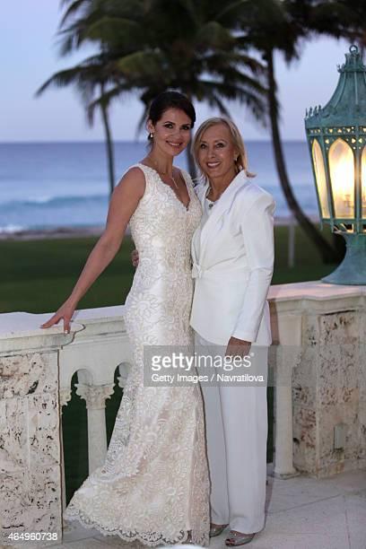 Martina Navratilova and Julie Lemigova attend the Martina Navratilova and Julie Lemigova wedding reception on February 14 2015 in Palm Beach