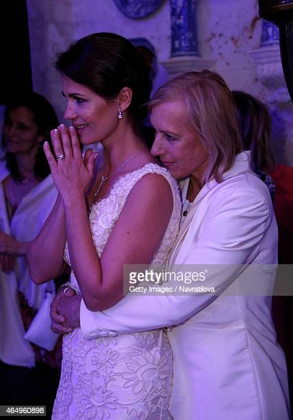 Martina Navratilova and Julie Lemigova attends the Martina Navratilova and Julie Lemigova wedding reception on February 14 2015 in Palm Beach