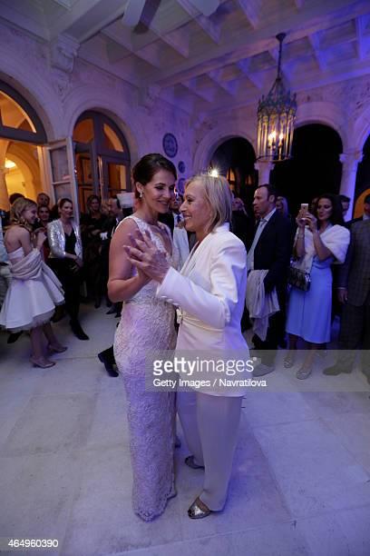 Martina Navratilova and Julie Lemigova have their first dance at the Martina Navratilova and Julie Lemigova wedding reception on February 14 2015 in...
