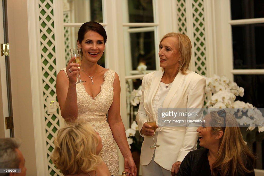 Martina Navratilova R And Julie Lemigova Make A Toast At The