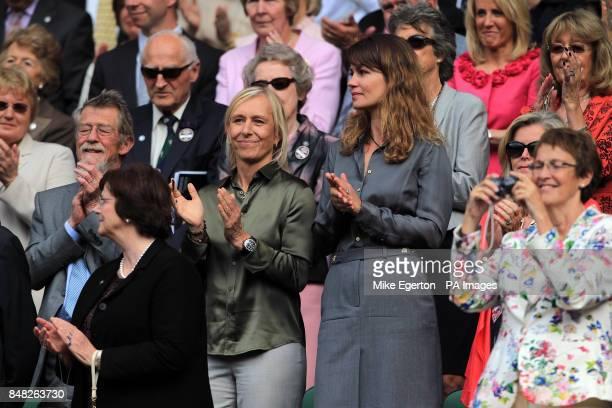 Martina Navratilova and partner Julia Lemigova in the royal box during day twelve of the 2012 Wimbledon Championships at the All England Lawn Tennis...