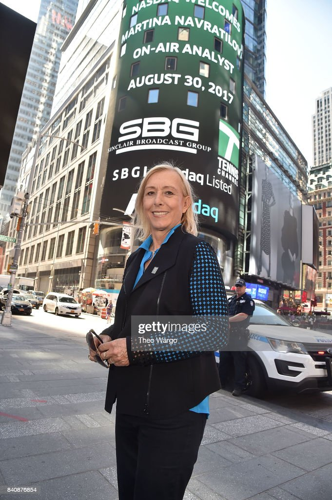 Martina Navratilova at the Tennis Channel Rings The Nasdaq Stock Market Opening Bell at NASDAQ MarketSite on August 30, 2017 in New York City.