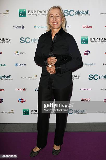 Martina Navratilova attends Singapore Tennis Evening during BNP Paribas WTA Finals at Marina Bay Sands on October 30 2015 in Singapore
