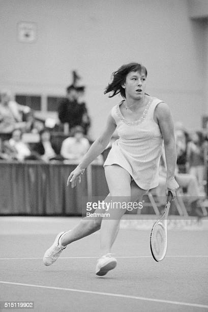 Martina Navratilova charges the net during her semifinals match with Evonne Goolagong at the Virginia Slims Tournament 2/21 The 24yearold Miss...