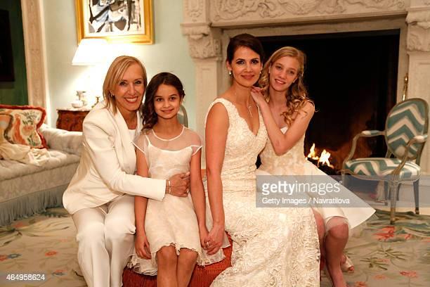 Martina Navratilova Julie Lemigova and daughters Emma and Victoria pose at the Martina Navratilova and Julie Lemigova wedding reception on February...