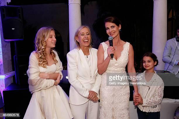 Martina Navratilova Julie Lemigova and daughters Victoria and Emma give a speech at the Martina Navratilova and Julie Lemigova wedding reception on...