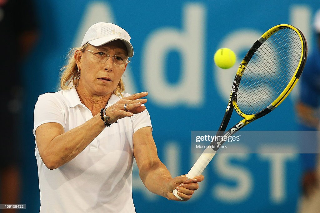 <a gi-track='captionPersonalityLinkClicked' href=/galleries/search?phrase=Martina+Navratilova&family=editorial&specificpeople=201523 ng-click='$event.stopPropagation()'>Martina Navratilova</a> of CZECHOSLOVAKIA competes during the World Tennis Challenge at Memorial Drive on January 9, 2013 in Adelaide, Australia.
