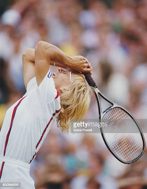 Martina Navratilova of the United States celebrates winning the Women's Singles Final match against Steffi Graf at the Wimbledon Lawn Tennis...