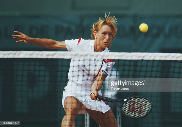 Martina Navratilova of the United States during the Women's Singles Semi Final match against Chris Evert at the French Open Tennis Championship on 5...