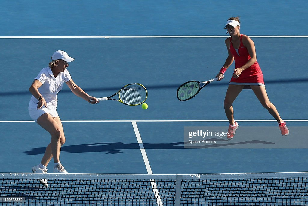 Martina Navratilova of the United States of America plays a forehand in her legends doubles match with Martina Hingis of Switzerland against Iva Majoli of Croatia and Barbara Schett Austria during day seven of the 2013 Australian Open at Melbourne Park on January 20, 2013 in Melbourne, Australia.