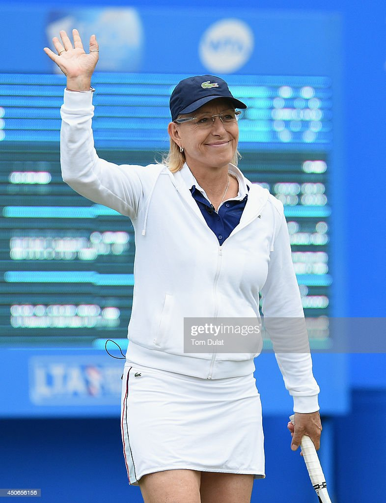 Martina Navratilova of the United States takes part in an exhibition match during Day Seven of the Aegon Classic at Edgbaston Priory Club on June 15, 2014 in Birmingham, England.