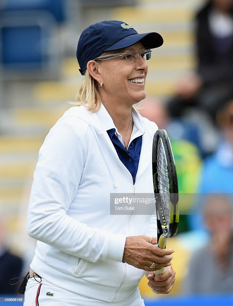 <a gi-track='captionPersonalityLinkClicked' href=/galleries/search?phrase=Martina+Navratilova&family=editorial&specificpeople=201523 ng-click='$event.stopPropagation()'>Martina Navratilova</a> of the United States takes part in an exhibition match during Day Seven of the Aegon Classic at Edgbaston Priory Club on June 15, 2014 in Birmingham, England.