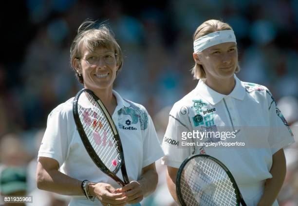 Martina Navratilova of the USA and Jana Novotna of Czechoslovakia prior to their women's singles quarterfinal match during the Wimbledon Lawn Tennis...
