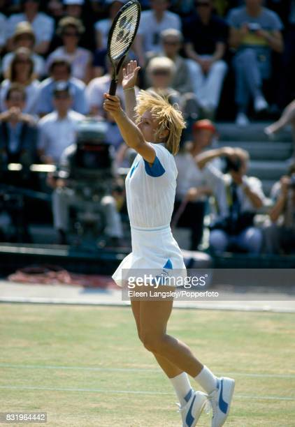 Martina Navratilova of the USA at the moment of her straightsets victory in the women's singles final over Chris Evert of the USA during the...