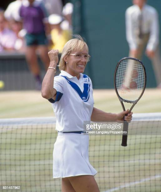 Martina Navratilova of the USA at the moment of victory during the women's singles final at the Wimbledon Lawn Tennis Championships in London on 7th...