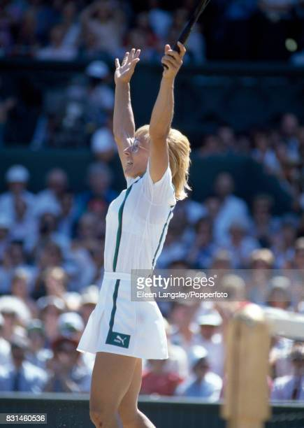 Martina Navratilova of the USA at the moment of victory during the women's singles final at the Wimbledon Lawn Tennis Championships in London on 4th...