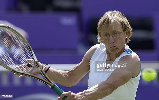 Martina Navratilova of the USA in action against Daniela Hantuchova of Solvakia during the second round of the ladies singles in the Britannic Asset...