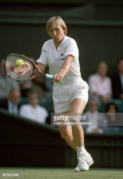 Martina Navratilova of the USA in action during a women's singles match at the Wimbledon Lawn Tennis Championships in London circa July 1993...