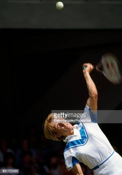 Martina Navratilova of the USA in action during a women's singles match at the Wimbledon Lawn Tennis Championships in London circa July 1984...