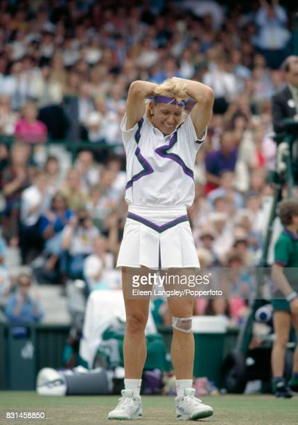 Martina Navratilova of the USA reacts after winning the women's singles final by defeating Zina GarrisonJackson of the USA in straight sets at the...