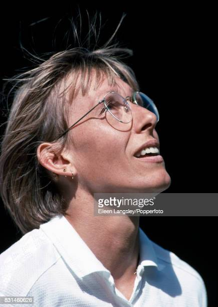 Martina Navratilova of the USA reacts during a women's singles match at the Wimbledon Lawn Tennis Championships in London circa July 1993 Navratilova...