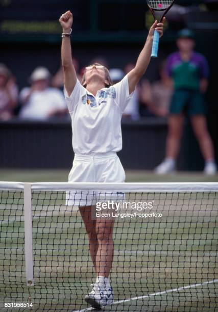 Martina Navratilova of the USA wins her women's singles semifinal match against Gigi Fernandez of the USA in straight sets during the Wimbledon Lawn...
