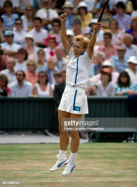 Martina Navratilova of the USA wins match point and the women's singles final by defeating Steffi Graf of Germany in straight sets during the...