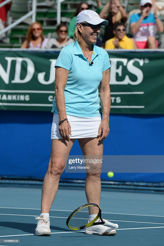 <a gi-track='captionPersonalityLinkClicked' href=/galleries/search?phrase=Martina+Navratilova&family=editorial&specificpeople=201523 ng-click='$event.stopPropagation()'>Martina Navratilova</a> participates in 23rd Annual Chris Evert/Raymond James Pro-Celebrity Tennis Classic at Delray Beach Tennis Center on October 27, 2012 in Delray Beach, Florida.