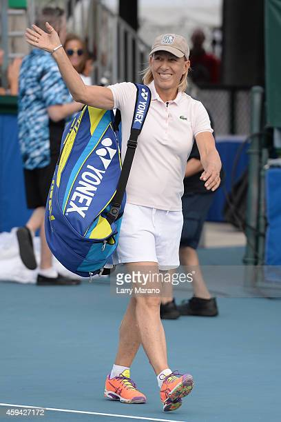 Martina Navratilova participates in 25th Annual Chris Evert/Raymond James ProCelebrity Tennis Classic at Delray Beach Tennis Center on November 22...