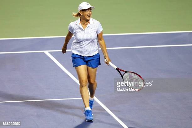 Martina Navratilova reacts during an exhibition match during Day 4 of the Connecticut Open at Connecticut Tennis Center at Yale on August 21 2017 in...