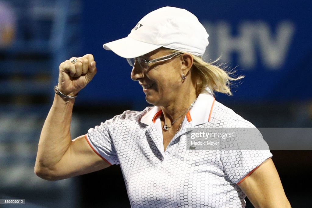 Martina Navratilova reacts during an exhibition match during Day 4 of the Connecticut Open at Connecticut Tennis Center at Yale on August 21, 2017 in New Haven, Connecticut.