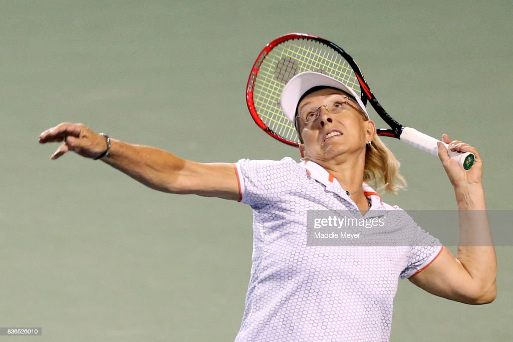 Martina Navratilova serves during an exhibition match during Day 4 of the Connecticut Open at Connecticut Tennis Center at Yale on August 21, 2017 in New Haven, Connecticut.