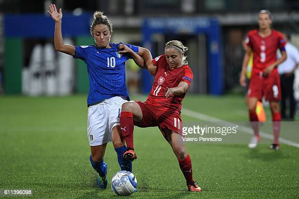 Martina Rosucci of Italy is challenged by Petra Ivanocova of Czech Republic during the UEFA Women's Euro 2017 Qualifier Group 6 match between Italy...