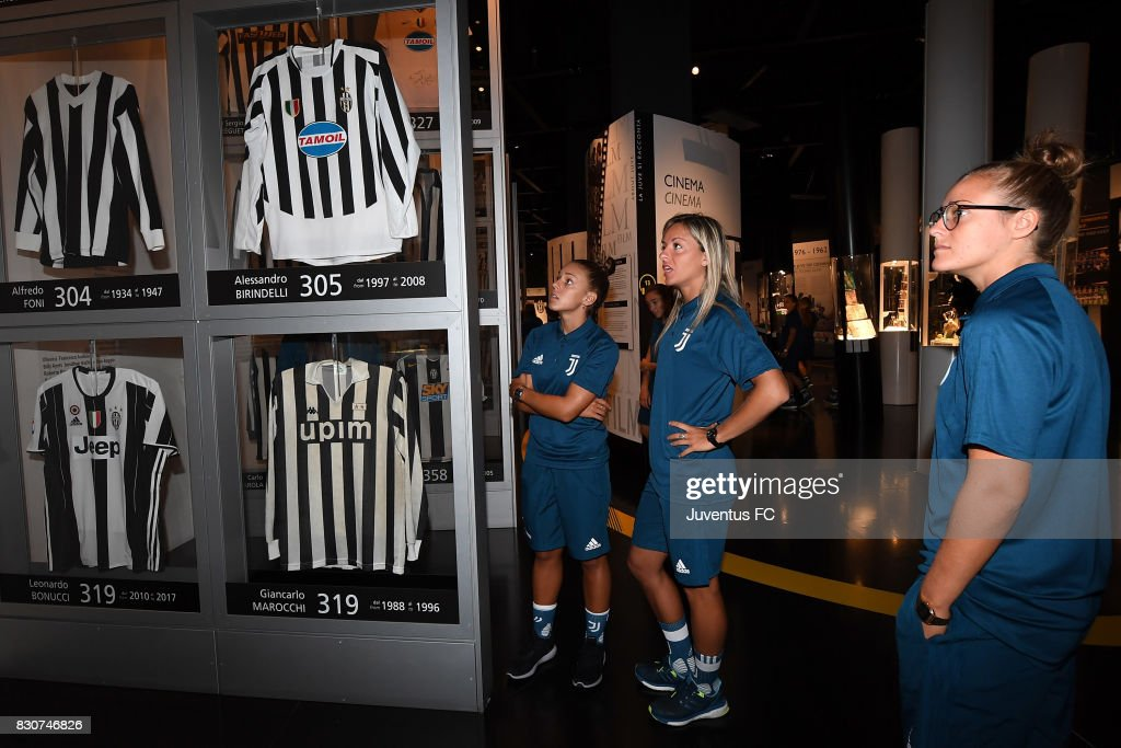 Martina Rosucci (C) of Juventus Women looks on during a visit to the Club's Museum on August 12, 2017 in Turin, Italy. (Photo by Getty Images - Juventus FC/Getty Images