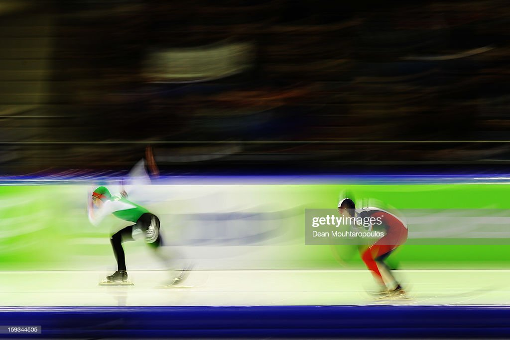 <a gi-track='captionPersonalityLinkClicked' href=/galleries/search?phrase=Martina+Sablikova&family=editorial&specificpeople=799963 ng-click='$event.stopPropagation()'>Martina Sablikova</a> (R) of Czech Republic and Tatyana Mikhailova of Belarus compete in the 500m Ladies race during the Essent ISU European Speed Skating Championships 2013 at Thialf Stadium on January 12, 2013 in Heerenveen, Netherlands.