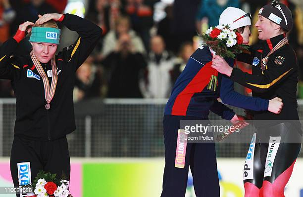 Martina Sablikova of Czech Republic for first place Stephanie Beckert of Germany for second place and Claudia Pechstein of Germany for third place...
