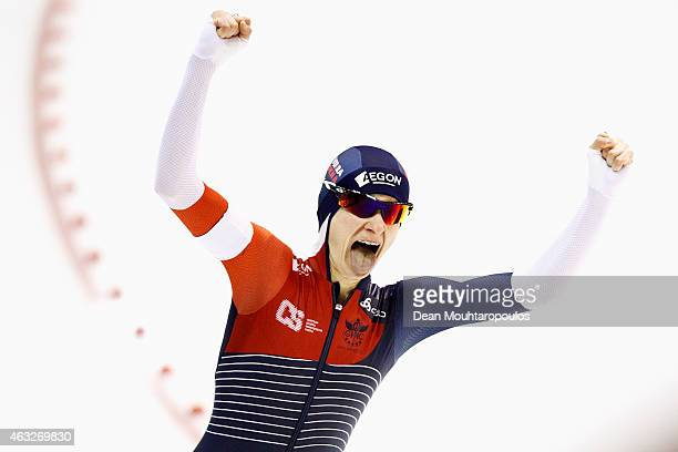 Martina Sablikova of the Czech Republic celebrates after she competes in the Ladies 3000m race during day 1 of the ISU World Single Distances Speed...